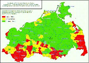 Mecklenburgische Seenplatte Kartenansicht.Waldbrandschutz Wald Mv